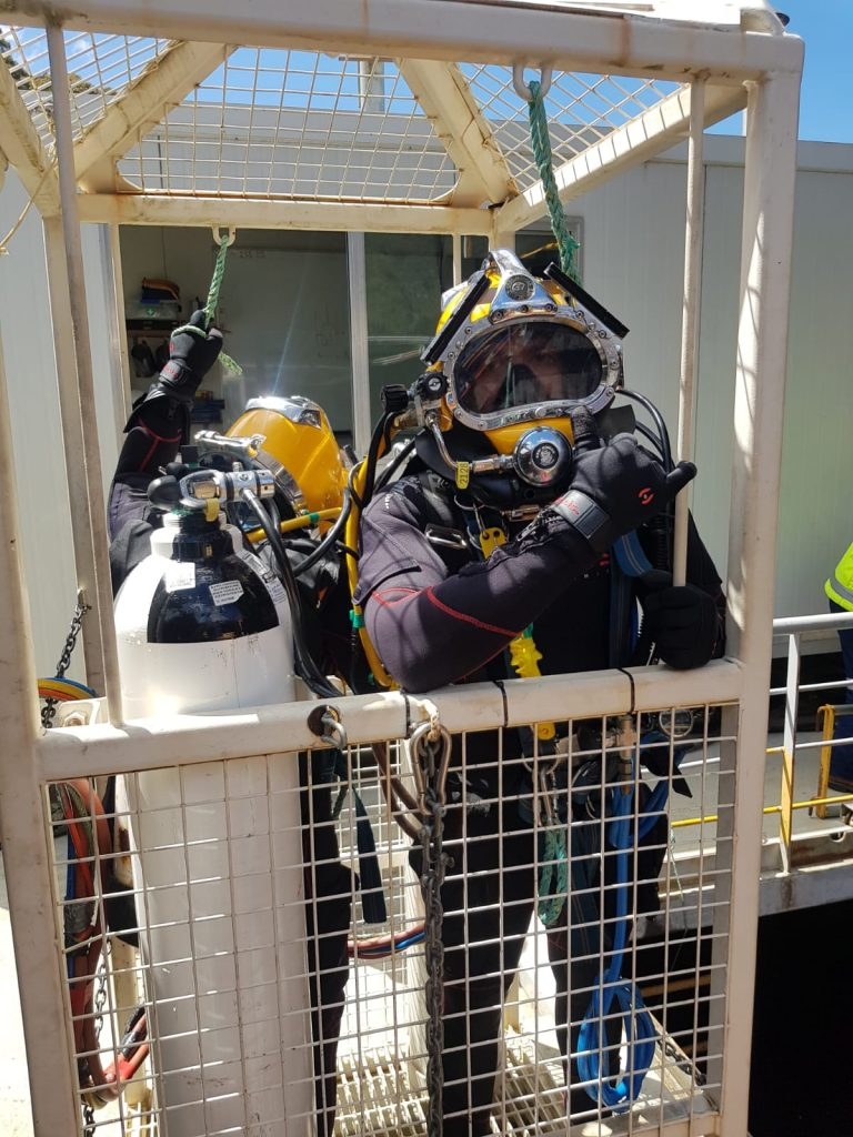 Commercial DIver about to work