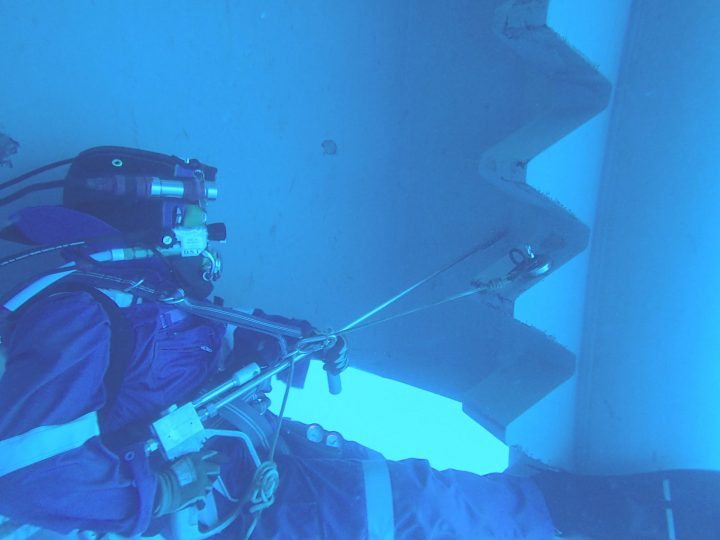 Offshore Commercial Diver on an oil rig peforming a UWILD